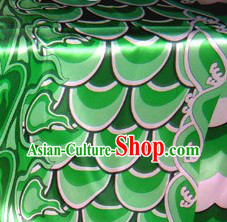 Traditional Green Chinese Dragon Dance Scale Fabric