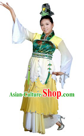 Ancient Chinese Classical Dancing Jasmine Flower Dance Costumes and Hair Accessories