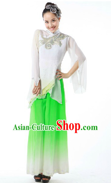 Traditional Chinese Classical Dancing Jasmine Flower Mo Li Hua Dance Costume and Headpieces