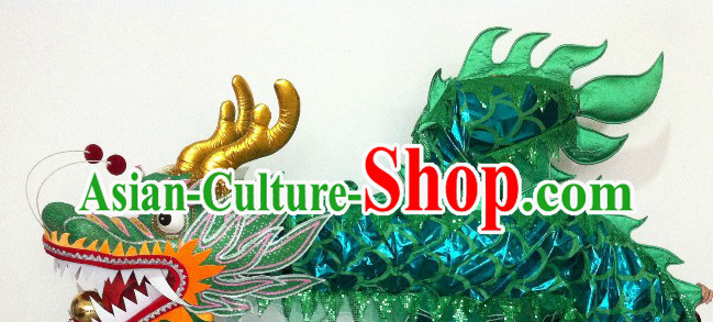 Shinning Green China Dragon Dance Costumes for 13-14 Adults