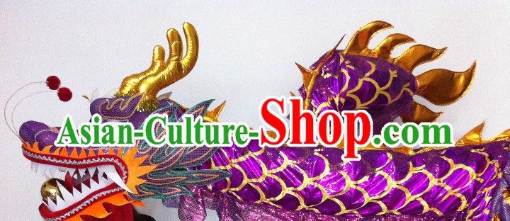 Shinning Purple and Golden China Dragon Dancing Costume Prop for 23-24 Dancers