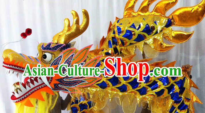 Shinning Blue and Gold Dragon Dancing Prop for Nine or Ten Dancers