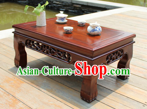 Traditional Long Chinese Wooden Floor Table for Six Persons