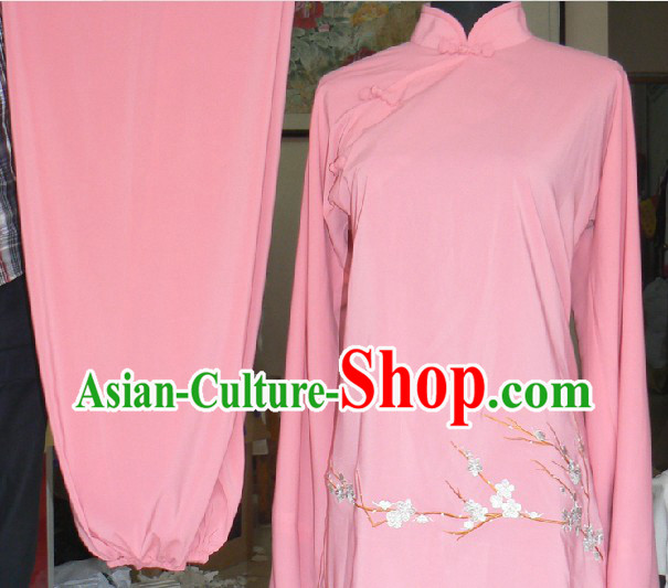 Traditional Chinese Pink Wing Chun Kung Fu Suit for Girls