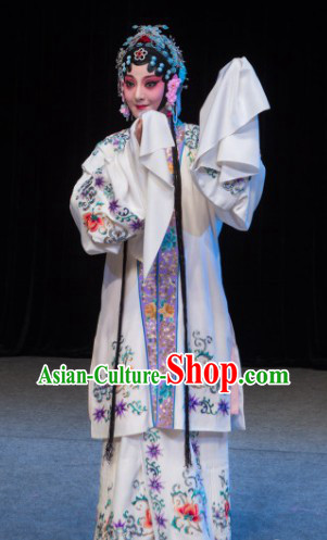 Traditional Beijing Opera White Huadan Embroidered Costumes