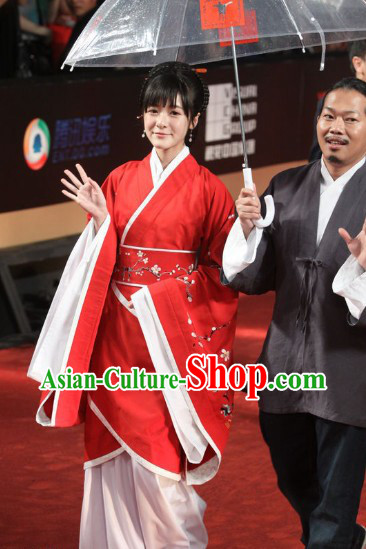 Worldwide Free Shipping Ancient Red Plum Blossom Han Princess Clothing Complete Set