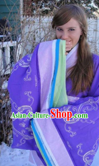 Free Shipping Worldwide Ancient Chinese Purple Imperial Princess Embroidery Phoenix Clothing