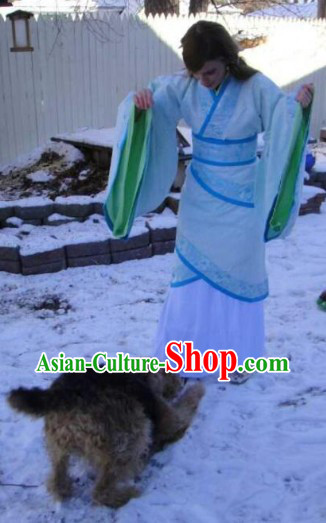 Ancient Chinese White Han Dynasty Clothes Complete Set for Women