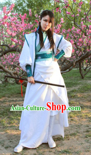 Ancient Chinese White Swordsman Costumes Unisex Free Worldwide Shipping
