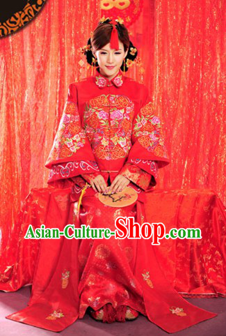 Lucky Red Traditional Chinese Classical Wedding Dress Complete Set for Brides