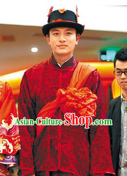 Traditional Chinese Bridegroom Wedding Blouse Hat Pants Complete Set