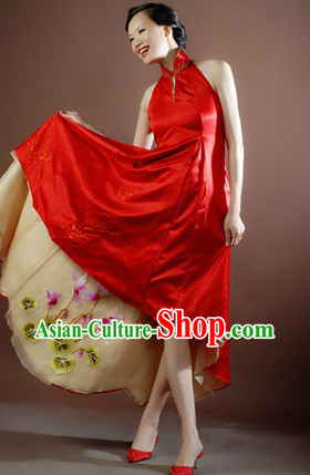 Traditional Chinese Classical High Collar Wedding Ceremony Evening Dress for Brides