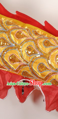 Traditional Chinese Yellow Embroidery Dragon Dancing Costumes