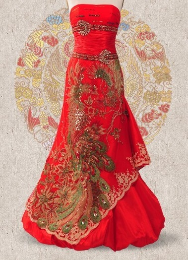 Supreme Red Silk Phoenix Wedding Dress for Brides