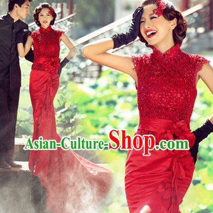 Traditional Chinese Red Fish Tail Wedding Dress