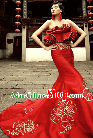2013 New Design Red Long Trail Wedding Evening Dress