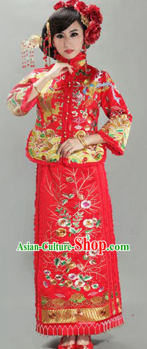 Traditional Chinese Mandarin Wedding Outfit for Women