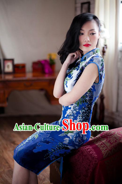 Traditional Chinese Blue Long Cheongsam Qipao