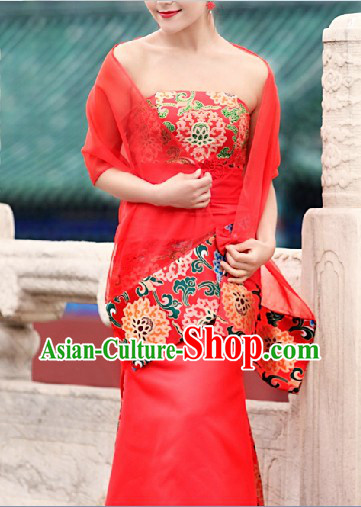 Classical Chinese Folk Wedding Evening Dress Long Skirt for Women
