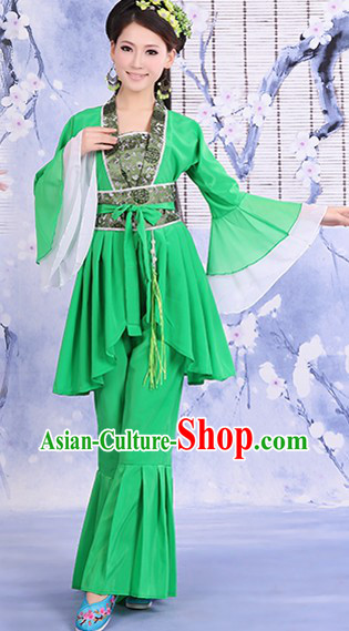 Ancient Chinese Green Stage Performance Dance Costume for Women