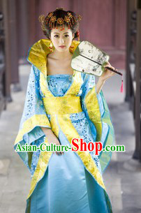 Ancient Chinese Blue Empress Imperial Performance Outfits