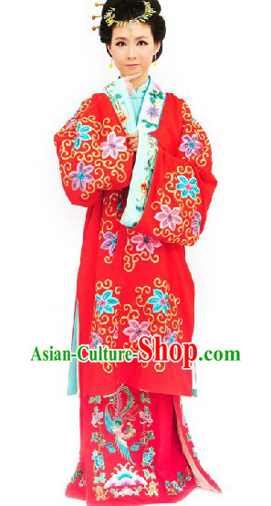 Traditional Chinese Beijing Opera Embroidered Qing Yi Costumes and Headpiece for Women
