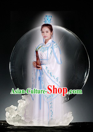 Ancient Chinese Embroidered Leaf Legend Guan Yin Budda Parade Costume