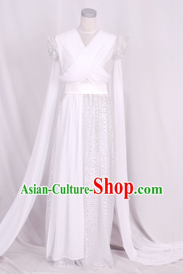 Ancient Chinese Legend White Fairy Costumes for Women