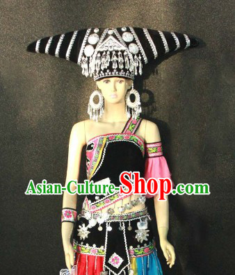 Guang Xi Zhuang Tribe Ethnic Costumes and Hat for Women