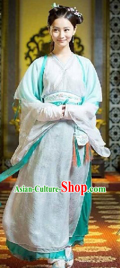 Ancient Chinese Legend Green and White Beauty Hanfu Clothing Complete Set