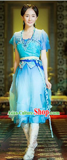 Ancient Chinese Style Blue Electronic Game Gu Jian Qi Tan Fairy Lady Costumes