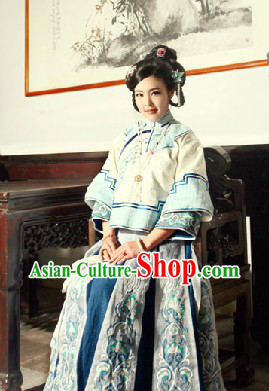 Minguo Time Traditional Chinese Yan Zhi Xue Female Noblewoman Blouse and Skirt Complete Set