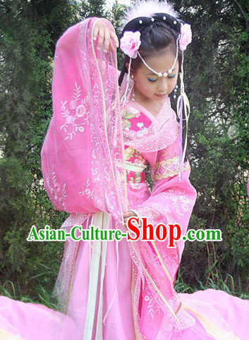 Traditional Chinese Imperial Pink Princess Outfit for Kids