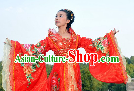 Ancient Chinese Stage Performance Peony Red Wedding Outfit for Brides