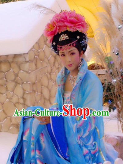 Ancient Chinese Blue Tang Dynasty Empress Costumes