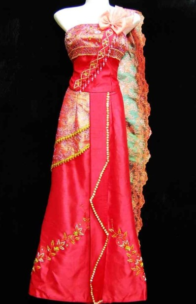 Traditional Asian Thailand One Shoulder Uniform for Women