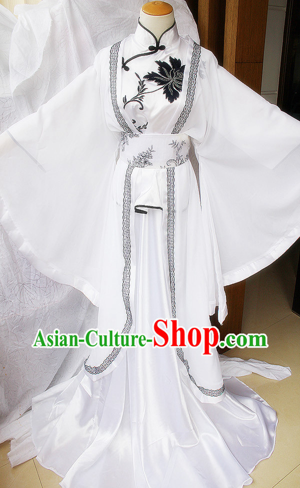 Traditional Ancient Chinese White Guzhuang Han Fu Clothing Outfit for Men or Women