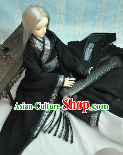Traditional Ancient Black Swordsman Outfit for Men