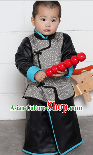 Traditional Chinese Black Thick Robe and Jacket for Kids