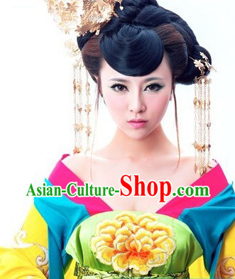 Yellow Ancient Chinese Tang Dynasty Concubine Costumes Complete Set