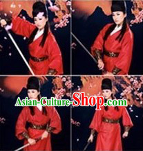Red Ancient Chinese Swordswoman Costumes and Hat