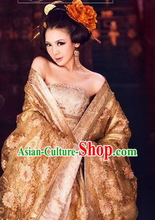Golden Traditional Ancient Chinese Empress Costume