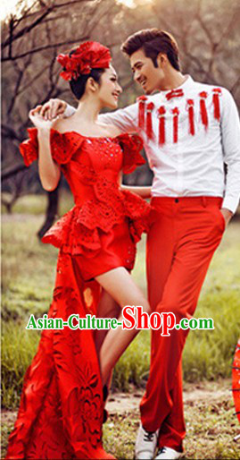 Traditional Ancient Chinese Wedding Evening Photography Studio Use Clothes Two Sets
