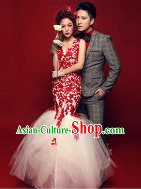 Photography Studio Use Fish Tail Wedding Dress and Suit for Brides and Bridegroom