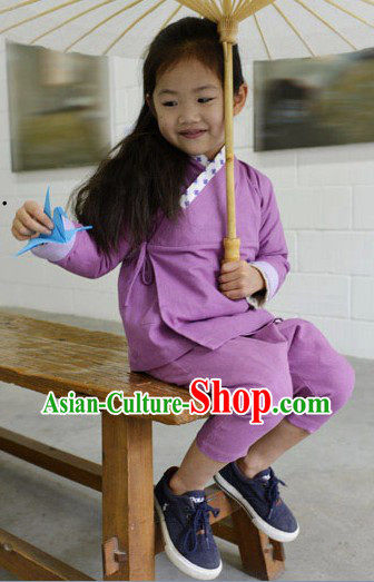Traditional Ancient Chinese Cotton Guzhuang for Girls