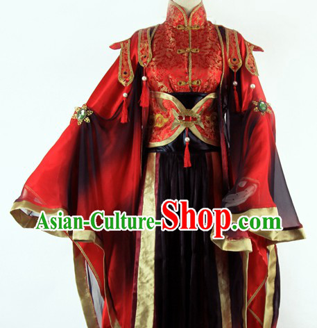 Ancient Chinese Cartoon Character Zhong Lian Red and Black Cosplay Costume Complete Set