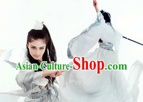 White Wu Lin Wai Zhuan Ancient Chinese Calliver Bai Zhantang Costume for Men