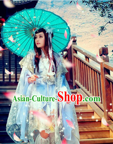 Ancient Chinese White Princess Cosplay Costumes Umbrella and Headdress