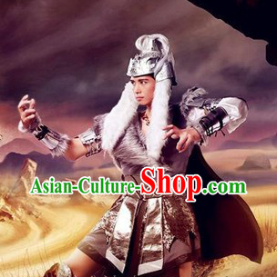 Ancient Chinese Mongolian Khan Costumes and Hat for Men