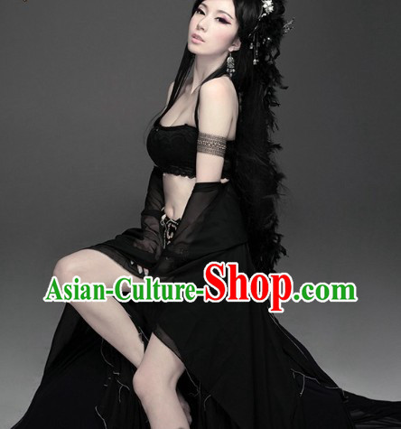 Ancient Chinese Black Fairy Goddness Costumes Complete Set
